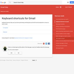 Keyboard shortcuts - Gmail Help