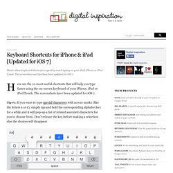 Keyboard Shortcuts and Typing Tips for your iPad, iPhone or iPod Touch