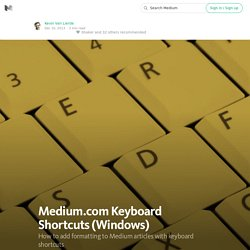 Medium.com Keyboard Shortcuts (Windows)