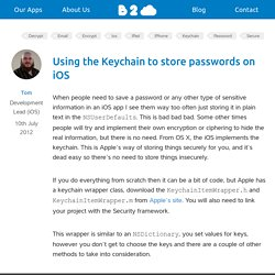 Using the Keychain to store passwords on iOS
