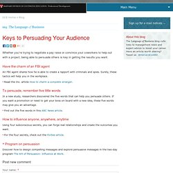Keys to Persuading Your Audience