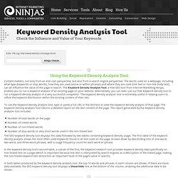 Keyword Density Analysis Tool