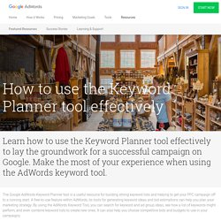 How to Use the Keyword Planner Tool
