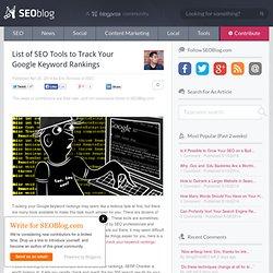List of SEO Tools to Track Your Google Keyword Rankings