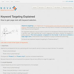 Keyword Targeting - How to gain page rank with keyword selection.