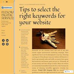 Tips to select the right keywords for your website