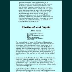 Khokhmah and Sophia: the Judaic and Gnostic Goddess