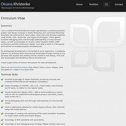 CV - Oksana Khristenko - Web Designer & Front End Web Developer