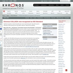 COLLADA now recognized as ISO Standard - Khronos Group Press Release