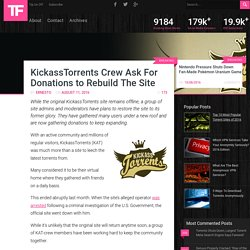 KickassTorrents Crew Ask For Donations to Rebuild The Site