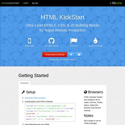 HTML KickStart HTML Elements & Documentation