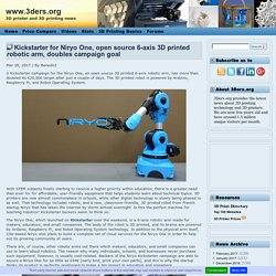 Kickstarter for Niryo One, open source 6-axis 3D printed robotic arm, doubles campaign goal