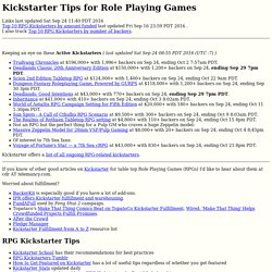 Kickstarter Tips for Role Playing Games