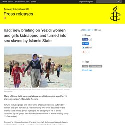 Iraq: new briefing on Yezidi women and girls kidnapped and turned into sex slaves by Islamic State