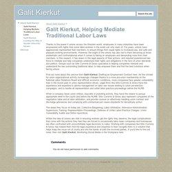 Galit Kierkut, Helping Mediate Traditional Labor Laws