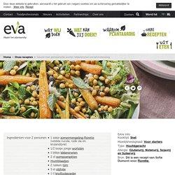 Salade met geroosterde wortel, kikkererwten en tahindressing · EVA maakt het plantaardig