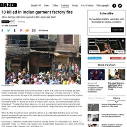 13 killed in Indian garment factory fire