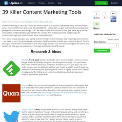 39 Killer Content Marketing Tools