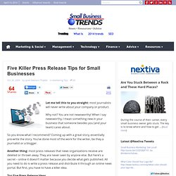 Five Killer Press Release tips for Small Businesses