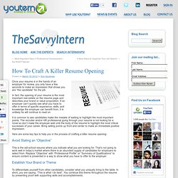How To Craft A Killer Resume Opening