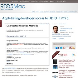 Apple killing developer access to UDID in iOS 5