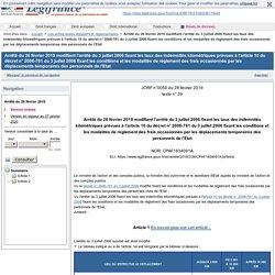 Arrêté du 26 février 2019 modifiant l'arrêté du 3 juillet 2006 fixant les taux des indemnités kilométriques prévues à l'article 10 du décret n° 2006-781 du 3 juillet 2006 fixant les conditions et les modalités de règlement des frais occasionnés par les dé
