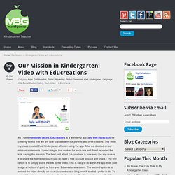 Our Mission in Kindergarten: Video with Educreations