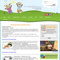 Kindergarten-Preschool Family and Pets Theme