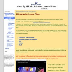 0 Kindergarten Lesson Plans - Idaho SySTEMic Solution Lesson Plans