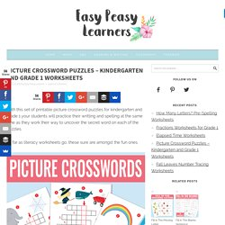 Picture Crossword Puzzles - Kindergarten and Grade 1 Worksheets - Easy Peasy Learners