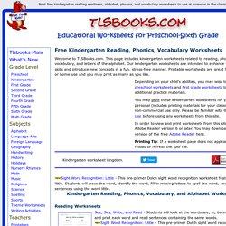 Free Kindergarten Worksheets:Reading, Phonics, Vocabulary