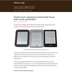Kindle Touch compared to Nook Simple Touch, Kobo Touch, and Kindle 4