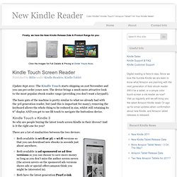 Kindle Touch Screen Reader