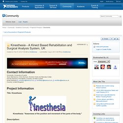 Kinesthesia - A Kinect Based Rehabilitation and Surgical Analysis System, UK