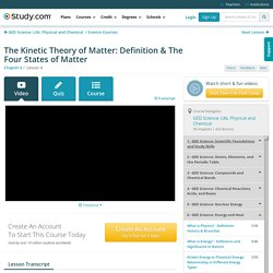 The Kinetic Theory of Matter: Definition & The Four States of Matter