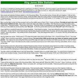 King James Bible Statistics