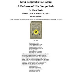 King Leopold's Soliloquy, by Mark Twain