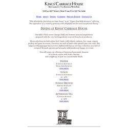 Kings' Carriage House - Dining Menus