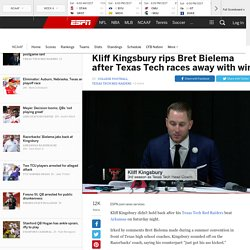 Kliff Kingsbury of Texas Tech Red Raiders sounds off on Bret Bielema of Arkansas Razorbacks