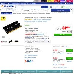 Kingston 8Go DDR3L HyperX Impact CL9 - Achat / Vente mémoire ram Kingston 8Go DDR3L HyperX CL9