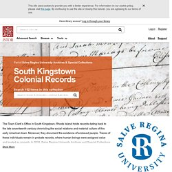 South Kingstown Colonial Records on JSTOR
