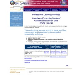 Building Language and Literacy Skills - Taking Center Stage-Act II (TCSII) (CA Dept of Education)