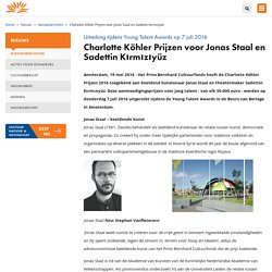 Charlotte Köhler Prijzen voor Jonas Staal en Sadettin Kırmızıyüz - Prins Bernhard Cultuurfonds