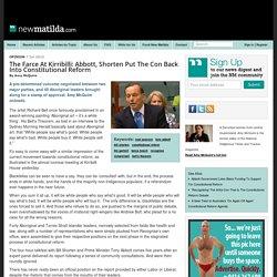 The Farce At Kirribilli: Abbott, Shorten Put The Con Back Into Constitutional Reform