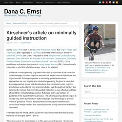 Kirschner's article on minimally guided instruction