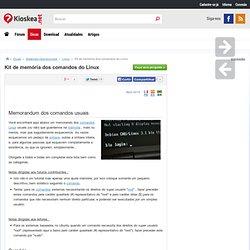Kit de memória dos comandos do Linux