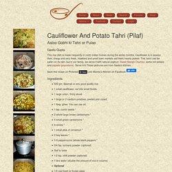 Mamta's Kitchen » Cauliflower And Potato Tahri (Pilaf)