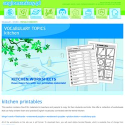 Kitchen Printable Worksheets for ESL Kids