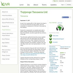 Tanzania > Tujijenge Tanzania Ltd