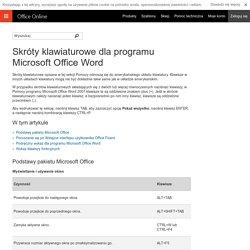 Skróty klawiaturowe dla programu Microsoft Office Word